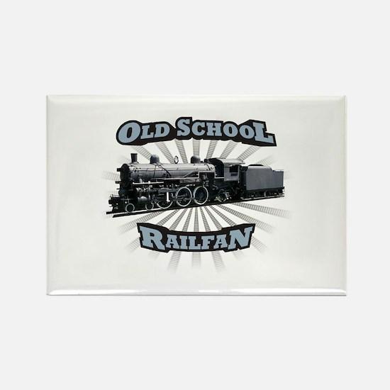 Old School Railfan Rectangle Magnet