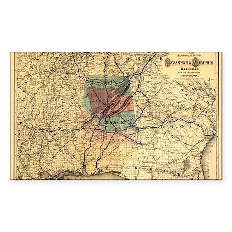 1872 Savannah & Memphis RR Rectangle Sticker