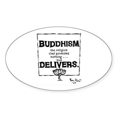 Buddhism Delivers (small) Oval Decal