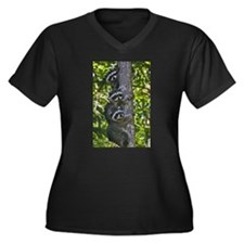 Back Yard Critters Women's Plus Size V-Neck Dark T