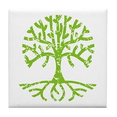 Distressed Tree III Tile Coaster