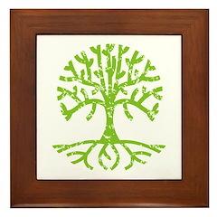 Distressed Tree III Framed Tile