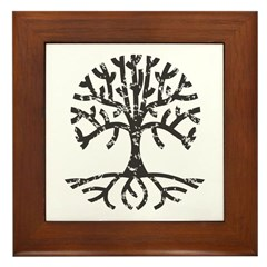 Distressed Tree II Framed Tile