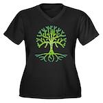 Distressed Tree VI Women's Plus Size V-Neck Dark T
