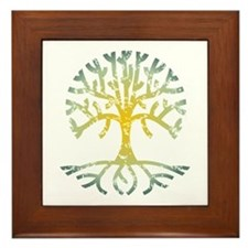 Distressed Tree VII Framed Tile