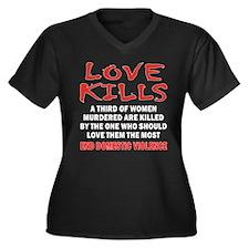 Love Kills Women's Plus Size V-Neck Dark T-Shirt