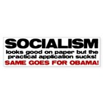 Socialism looks good on paper Sticker (Bumper 10 p