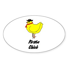 Pirate Chick Oval Decal