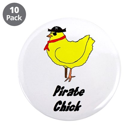 "Pirate Chick 3.5"" Button (10 pack)"