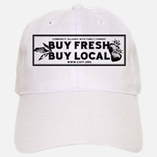 Buy Fresh Buy Local Black & W Baseball Baseball Cap