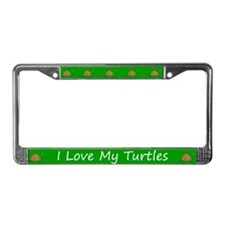 Green I Love My Turtles License Plate Frame