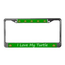 Green I Love My Turtle License Plate Frame