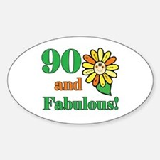 Fabulous 90th Birthday Oval Decal