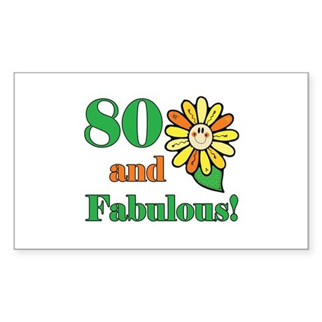 Fabulous 80th Birthday Rectangle Sticker
