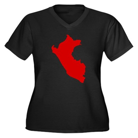 Peru Women's Plus Size V-Neck Dark T-Shirt