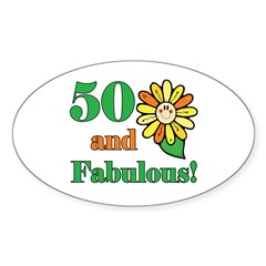 Fabulous 50th Birthday Oval Decal