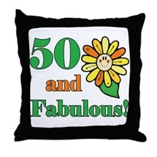 Fabulous 50th Birthday Throw Pillow