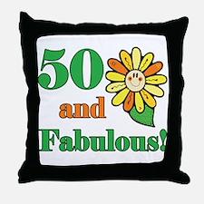 Fabulous 50th Birthday Throw Pillow