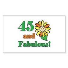 Fabulous 45th Birthday Rectangle Decal