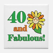 Fabulous 40th Birthday Tile Coaster