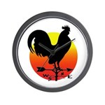 Rooster Weathervane Sunrise Wall Clock