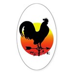 Rooster Weathervane Sunrise Oval Sticker (10 pk)