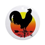 Rooster Weathervane Sunrise Ornament (Round)