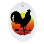 Rooster Weathervane Sunrise Oval Ornament