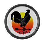 Rooster Weathervane Sunrise Large Wall Clock