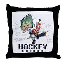 Dinosaur Hockey Throw Pillow