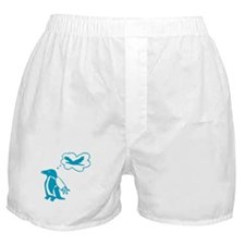 """""""Penguins can fly too"""" (blue) Boxer Shorts"""