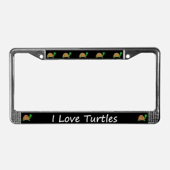Black I Love Turtles License Plate Frames