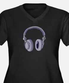 Headphones Women's Plus Size V-Neck Dark T-Shirt