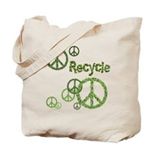 Recycle Symbol Peace Sign Reusable Canvas Tote Bag