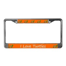 Orange I Love Turtles License Plate Frames