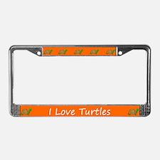 Orange I Love Turtles License Plate Frames
