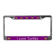 Purple I Love Turtles License Plate Frames