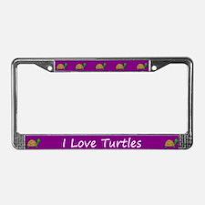 Purple I Love Turtles License Plate Frames