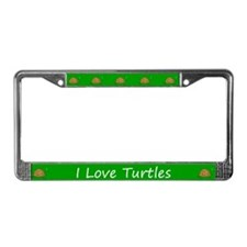 Green I Love Turtles License Plate Frames