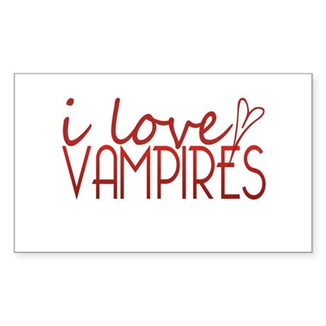 I love Vampires - red Rectangle Sticker