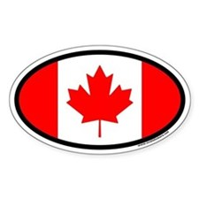 Maple Leaf Flag of Canada Euro Oval Decal