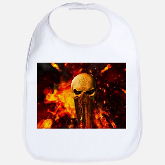 Awesome skull with fire on the background Baby Bib