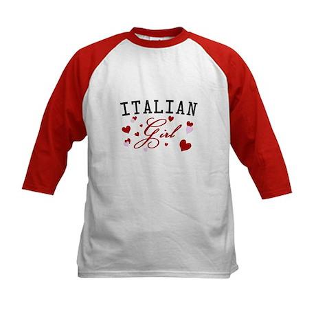 Italian Girl Kids Baseball Jersey