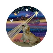 Lhasa Apso Christmas Star Ornament (Round)