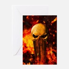 Awesome skull with fire on the background Greeting