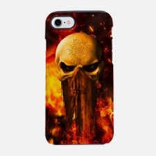 Awesome skull with fire on the background iPhone 7