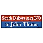 No to John Thune bumper sticker