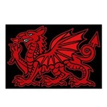 Midrealm red Dragon Black Postcards (Package of 8)