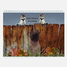 Cairn Terrier Squirrels Wall Calendar