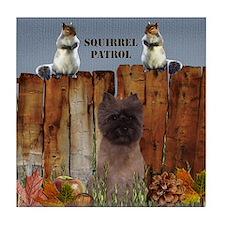 Cairn Terrier Squirrels Tile Coaster